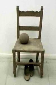 MADONNA DI PIEDIGROTTA Assemblaggio sabbia su sedia